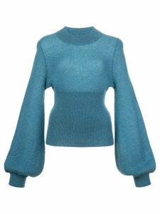Nicholas elongated sleeve fine knit jumper - Blue