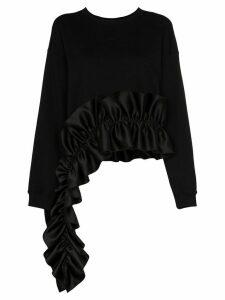Christopher Kane asymmetric ruffle-hem jumper - Black