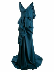 Solace London tiered draped gown - Blue
