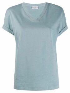 Brunello Cucinelli bead-detail v-neck T-shirt - Blue