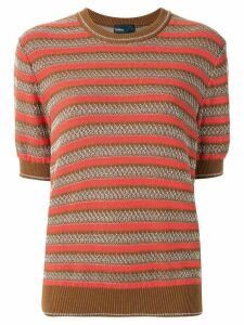 Kolor striped knitted top - Brown