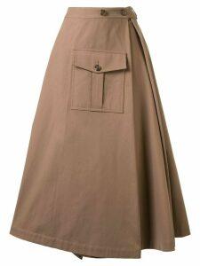 Goen.J asymmetric flared midi skirt - Brown