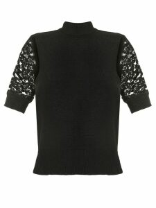 Goen.J lace embroidered crochet top - Black