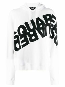 Dsquared2 double logo print hoodie - White