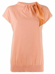 Fabiana Filippi tie neck short-sleeved knitted top - ORANGE