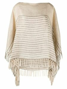 Brunello Cucinelli striped poncho jumper - NEUTRALS