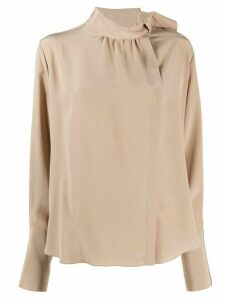 Fendi tie-neck wrap blouse - NEUTRALS