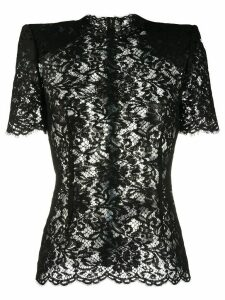 Dolce & Gabbana structured-shoulder lace blouse - Black