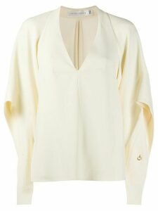 Victoria Beckham draped-sleeve deep-V blouse - White
