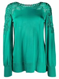 Alberta Ferretti long sleeve lace detail knit top - Green