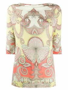 Etro draped neck paisley blouse - NEUTRALS