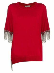 Twin-Set short sleeve embellished top - Red