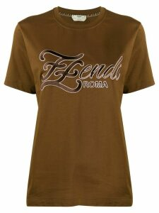Fendi embroidered FF Karligraphy T-shirt - Brown