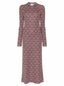 Paco Rabanne cutout jacquard lurex dress - Red