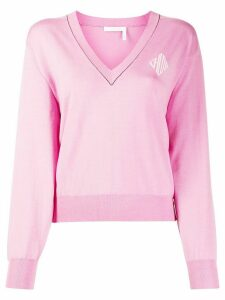 Chloé logo V-neck cropped jumper - PINK