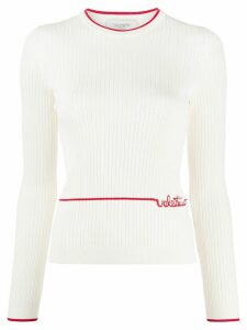 Valentino embroidered logo ribbed jumper - White