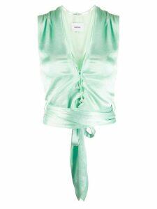 Nanushka Corsica tie waist top - Green
