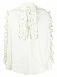 AREA bead trim ruffle shirt - White