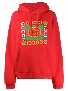 Gucci logo star print hoodie - Red