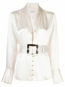 Nicholas belted satin blouse - White