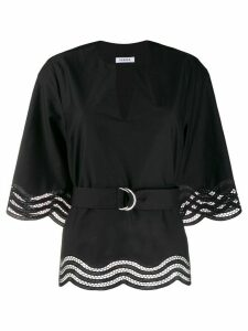 P.A.R.O.S.H. embroidered wavy hem blouse - Black