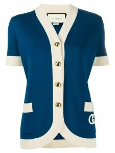 Gucci logo patch cardigan - Blue