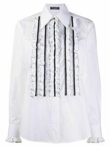 Dolce & Gabbana ruffled bib shirt - White