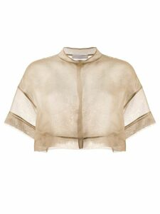 Fabiana Filippi sheer silk cropped blouse - Brown