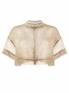Fabiana Filippi sheer silk cropped blouse - Brown