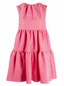 MSGM geometric pattern tiered dress - PINK