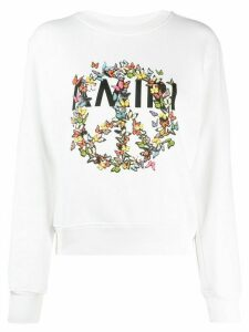 AMIRI peace sign-print cotton sweatshirt - White