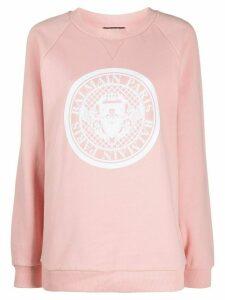 Balmain logo print crew neck sweatshirt - PINK
