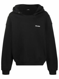 We11done name tag logo hoodie - Black