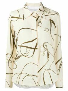 Victoria Beckham belt print long-sleeved shirt - NEUTRALS