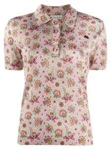 Etro floral short sleeve polo top - NEUTRALS