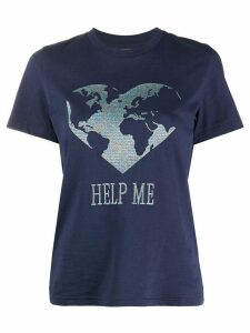 Alberta Ferretti metallic embroidered T-shirt - Blue