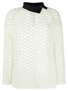 3.1 Phillip Lim open-knit contrasting collar jumper - White