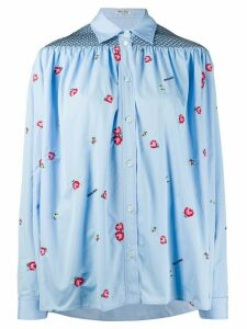 Miu Miu floral-embroidered smocked shirt - Blue