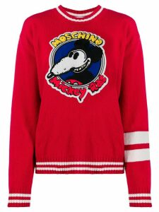 Moschino Mickey Rat patch jumper - Red