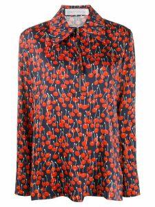 Victoria Victoria Beckham cherry-print half-zip blouse - Blue
