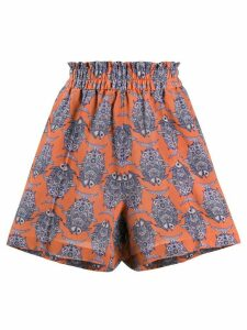 Odeeh mosaic fish pattern shorts - ORANGE