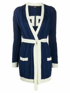 Elisabetta Franchi cable-knit belted cardigan - Blue
