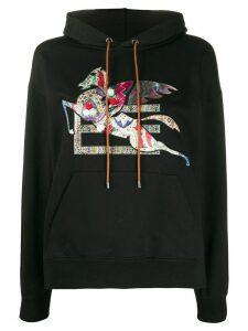 Etro Pegasus logo hoodie - Black