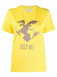 Alberta Ferretti embroidered earth T-shirt - Yellow