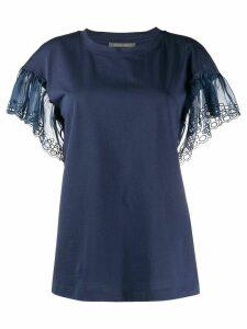 Alberta Ferretti ruffle sleeve T-shirt - Blue