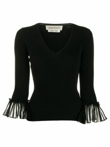 Alexander McQueen pleated cuffs knitted top - Black