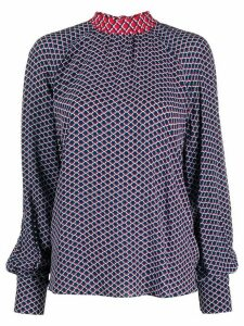 Kenzo Fishnet-print pussy-bow blouse - Blue