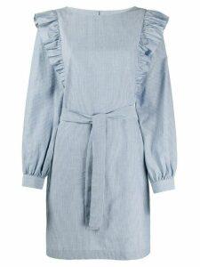 A.P.C. ruffled shoulder striped dress - Blue
