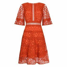 True Decadence - Orange Lace Cut Work Midi Dress