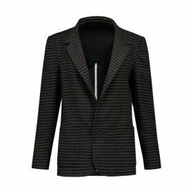 EVA D. - Pinstripe Blazer Jacket Slack - Wool/Linen Blend
